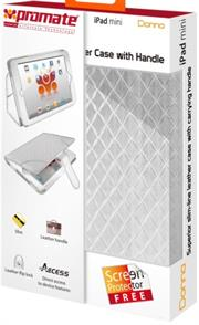 Promate Donna-Slim-line leather case with carrying handle for iPad mini-White, Retail Box, 1 Year Warranty