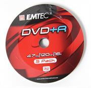 Emtec DVD+R 16X Speed 5pk Non-Printable , , No Warranty