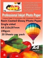 E-Box Resin Coated Glossy Photo Paper-Single sided A4 210x297mm-190gsm- 20 Sheets per pack, Retail Box ,