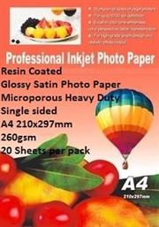 E-Box Resin Coated Glossy Satin Photo Paper- Microporous Heavy Duty Single sided A4 210x297mm-260gsm-20 Sheets per pack, Retail Box ,
