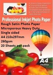 E-Box Rough Satin Photo Paper- Microporous Coated Heavy Duty- Single sided A4 210x297mm-260gsm-20 Sheets per pack, Retail Box
