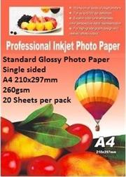 E-Box Standard Glossy Photo Paper- Single sided A4 210x297mm-260gsm-20 Sheets per pack, Retail Box ,
