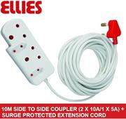 Ellies Side To Side Coupler 2 X 10A/1 X 5A + Surge-10 metres, Sold as a Single unit, 3 Months Warranty
