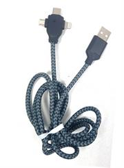 Geeko 3 in 1 Multiport USB Data and Charge Cable-Micro USB, Apple Lightning and Type C Connectors-Colour Black, Charges Up To 30% Faster Than Standard Cables, USB 2.0 Interface, 480 Mb/s Data Transfer Rate, High Temperature Resistant, Nylon Braided, Cable Length 1.2 Metres, Retail Box, No Warranty