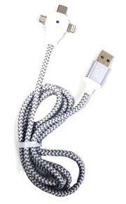 Geeko 3 in 1 Multiport USB Data and Charge Cable-Micro USB, Apple Lightning and Type C Connectors-Colour White, Charges Up To 30% Faster Than Standard Cables, USB 2.0 Interface, 480 Mb/s Data Transfer Rate, High Temperature Resistant, Nylon Braided, Cable Length 1.2 Metres, Retail Box, No Warranty