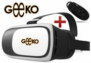 Geeko VR-Box Virtual Reality 3D Glasses with Mini Bluetooth Remote Controller – Supported: Android & iOS smartphone, Screen size from 4.5inch to 6.0 inch , HD Optical Resin Lens , Diameter: 42mm , FOV 70-90 Degrees for immersive 3D Experience, IPD: 58mm ~ 72mm , 360 Degree viewing and motion for full immersion, Retail Box , 1 year Limited Warranty