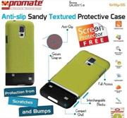 Promate Gritty S5 Anti-slip sandy textured protective case for Samsung Galaxy S5 Colour:Green, Retail Box , 1 Year Warranty