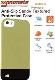 Promate Gritty-i5 iPhone 5 Anti-Slip Sandy finishing protective case for Iphone 5/5s Colour:Green Anti-Slip Sandy finishing with micro-fiber interior protective case for iPhone5/5S. Gritty.i5 for iPhone 5/5s is made of a high-quality anti-slip texturized polycarbonate plastic that provides long-lasting protection from accidental drops, scratches, abrasions and damage. The micro-fiber interior provides soft, impact-absorbing protection, keeping your phone free from scratches or bumps. , Retail Box , 1 Year Warranty