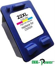 Inkpower Generic Replacement Tri Colour Cartridge for HP 22XL C9352CE-Page Yield 150 Pages with 5% coverage, for use with HP Deskjet D1311, D1320, D1330, D1341, D1420, D1430, D1445, D1520, D1530, D2330, D2460, F340, HP Officejet 4315, 5610, J3680. HP PSC 1410. HP 3180 Tri-Colour Ink Cartridge, Retail Box ,No Warranty