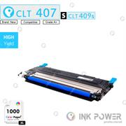 InkPower Generic Samsung CLT-K407S for use with Samsung CLP-320, CLP-325, CLX-3185 Series Cyan Toner Cartridge, Retail Box , No Warranty