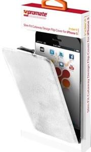Promate Indent iPhone 5 Slim-Fit Cutaway Design Flip Cover with magnetic claps and soft leather lock ensures that it remains closed-colour:White, Retail Box , 1 Year Warranty