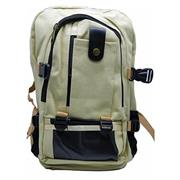 Macaroni Versitas Lightweight Canvas Multipurpose Backpack – Padded shoulder straps and Back, Four Main zippered compartments, Top Grip Handle, Dual Exterior Mesh Side pockets, Mobile phone Pocket – Cream, Poly Bag, 1 year Limited Warranty