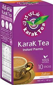 Karak Tea Instant Premix Zafran Unsweetened 10 sticks Retail Box No Warranty