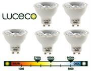 Luceco GU10 5W (LGW5W37/5-01) – Warm White LED, 5 Pack, 370 Lumens, True halogen appearance and perfect fit , 90% energy saving versus halogen , 10 times lifetime versus halogen, Will retrofit any current GU10 Halogen lamp, Retail Box , 3 year warranty