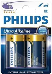 Philips Ultra Alkaline Battery LR20E2B 2 x Type D / R20 Ultra Alkaline Battery , 15.V, up to 5 years Shelf Life –ideal for use with high-drain devices such as Children's Toys, Torches, Speaker Stereo Systems and Docking stations – 2 Per Pack, Retail Box , No Warranty