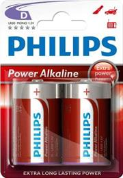 Philips PowerLife Battery LR20P2B 2 X Type D Power Alkaline Batteries , 15.V, up to 5 years Shelf Life –ideal for use with high-drain devices such as Alarms clocks , Wall clocks, Torches, Alarms systems and Remote controls , Stereo Systems – 2 Per Pack, Retail Box , No Warranty