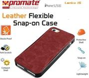 Promate Lanko.i5 iPhone 5 Hand-Crafted Leather Case, Protective, elegant & Flexible for iPhone 5/5s Colour:Brown Flexible snap-on case wrapped in hand crafted leather for iPhone5/5S,Lanko.i5 is an elegant case that protects your iPhone 5/5s in a high quality polycarbonate shell wrapped in hand-crafted leather. This durable case snaps on the back of your iPhone keeping a slim form factor while protecting against bumps and scratches. Lanko.i5 is customized to provide full access to ports, buttons and Cameras on your iPhone. , Retail Box , 1 Year Warranty