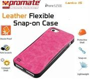 Promate Lanko.i5 iPhone 5 Hand-Crafted Leather Case, Protective, elegant & Flexible for iPhone 5/5s Colour:Pink Flexible snap-on case wrapped in hand crafted leather for iPhone5/5S,Lanko.i5 is an elegant case that protects your iPhone 5/5s in a high quality polycarbonate shell wrapped in hand-crafted leather. This durable case snaps on the back of your iPhone keeping a slim form factor while protecting against bumps and scratches. Lanko.i5 is customized to provide full access to ports, buttons and Cameras on your iPhone. , Retail Box , 1 Year Warranty