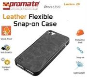 Promate Lanko.i5 iPhone 5 Hand-Crafted Leather Case, Protective, elegant & Flexible for iPhone 5/5s Colour:Black Flexible snap-on case wrapped in hand crafted leather for iPhone5/5S,Lanko.i5 is an elegant case that protects your iPhone 5/5s in a high quality polycarbonate shell wrapped in hand-crafted leather. This durable case snaps on the back of your iPhone keeping a slim form factor while protecting against bumps and scratches. Lanko.i5 is customized to provide full access to ports, buttons and Cameras on your iPhone. , Retail Box , 1 Year Warranty