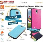 Promate Lanko.S4-Hand-Crafted Leather Case, Protective, elegant & Flexible ,Dual Compact Shell with Flexible Inner Grip-for Samsung Galaxy S4-Pink, Retail Box, 1 Year Warranty