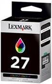 Lexmark 27 Cyan Magenta Yellow Colour Original Ink Cartridge, Retail Box , No Warranty