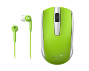Genius MH-8100 Wireless Mouse and Wired Earphone Combo – USB Pico receiver – Green, Retail Box , 1 year Limited warranty