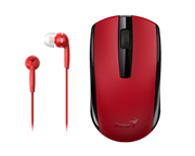 Genius MH-8100 Wireless Mouse and Wired Earphone Combo – USB Pico receiver – Red, Retail Box , 1 year Limited warranty