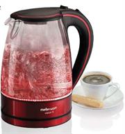 Mellerware Vision II Glass Jug Kettle – 22400RDA – RED – Cordless base with auto switch off, Lid opening button, Red lighting ring, Auto switch off, Concealed heating element, Boil dry cut-out safety, Water level indicator, Boil dry cut out safety switch, Filter Removable, Lid opening button, Retail Box, 1 year warranty