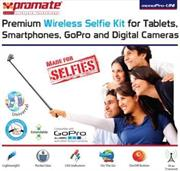 Promate monoPro-Uni Premium Wireless Selfie Kit for All Tablets, Smartphones, GoPro and Digital Camera – Pink, Retail Box , 1 Year Warranty