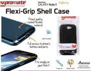 Promate Nitro.Black Multi-Colored Flexi-Grip Designed Case For Samsung Galaxy Note 2., Black, Retail Box, 1 Year Warranty