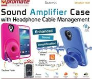 Promate Orator-S4 Sound Amplifier case for Samsung Galaxy S4 with headphone cable management Colour:Black, Retail Box , 1 Year Warranty