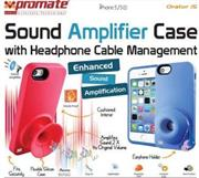 Promate Orator-I5 iPhone 5 Sound Amplifier case for Iphone 5/5s with headphone cable management Colour: Pink Sound Amplifier case with headphone cable management & horizontal/vertical stand stand for iPhone 5/5S,Live out loud with Orator.i5. This case redirects the sound from your speaker for an increased sound projection, making its presence known loud and clear without any wires or cables. The tough yet flexible Silicon shell provides a secure fit to your iPhone 5/5s. A cushioned interior layer provides soft, impact-absorbing protection and is detailed with a cool textured pattern. A UniQue, contoured profile offers an enhanced grip and allows the case to stand upright on its own and UniQue headphone cable management system lets you store your cable more securely. Orator.i5 is perfect for showing off your music with maximum device protection. , Retail Box , 1 Year Warranty