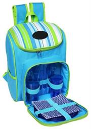 Striped Picnic Backpack (4 Person) – P915E – Blue & Green – comes with four place settings that includes Plates, Cutlery, Glasses and Napkins, With Handle, Side Pocket and Cooler Bag Compartment, Retail Box, 1 year warranty