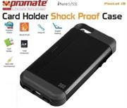 Promate Pocket.i5 iPhone 5 Shock Proof rubberized case with an in built card holder for iPhone 5/5s Colour:Black Shock Proof Case with Card Holder and sim-card remover for iPhone 5/5S,There's no better way to stay organized, but with Pocket.i5, a shock proof rubberized case with an in built card holder for iPhone 5/5s. You can now keep your important business cards and other payment cards close to your iPhone. You could even use it as a kick stand which allows landscape viewing of your iPhone with ease. Now never lose your sim-card remover with a specialized cutout to store your sim-card remover and an additional sim-card. , Retail Box , 1 Year Warranty