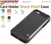 Promate Pocket.i5 iPhone 5 Shock Proof rubberized case with an in built card holder for iPhone 5/5s Colour:Grey Shock Proof Case with Card Holder and sim-card remover for iPhone 5/5S,There's no better way to stay organized, but with Pocket.i5, a shock proof rubberized case with an in built card holder for iPhone 5/5s. You can now keep your important business cards and other payment cards close to your iPhone. You could even use it as a kick stand which allows landscape viewing of your iPhone with ease. Now never lose your sim-card remover with a specialized cutout to store your sim-card remover and an additional sim-card. , Retail Box , 1 Year Warranty