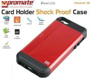 Promate Pocket.i5 iPhone 5 Shock Proof rubberized case with an in built card holder for iPhone 5/5s Colour:Maroon Shock Proof Case with Card Holder and sim-card remover for iPhone 5/5S,There's no better way to stay organized, but with Pocket.i5, a shock proof rubberized case with an in built card holder for iPhone 5/5s. You can now keep your important business cards and other payment cards close to your iPhone. You could even use it as a kick stand which allows landscape viewing of your iPhone with ease. Now never lose your sim-card remover with a specialized cutout to store your sim-card remover and an additional sim-card. , Retail Box , 1 Year Warranty