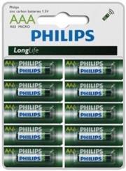 Philips LongLife Battery 10 X R03L10S AAA Zinc Carbon, Retail Box , No Warranty
