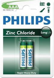 Philips LongLife Battery 2 X R03L2B AAA Zinc Carbon, Retail Box , No Warranty