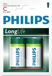 Philips LongLife 2x Type C / R14 Zinc Carbon Battery, 15.V, 3800 mAh -up to 3 years Shelf Life –ideal for use with basic radios, alarms, torches, clocks and remote controls-2 Per Pack, Retail Box , No Warranty