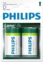 Philips LongLife 2x Type D / R20 Zinc Carbon Battery, 15.V, up to 3 years Shelf Life –ideal for use with basic radios, alarms, torches, clocks and remote controls-2 Per Pack, Retail Box , No Warranty