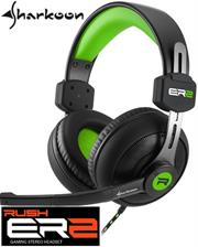 Sharkoon Rush ER2 Circumaural Stereo Headset with Microphone – Green, Retail Box , 1 year Limited Warranty