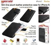 Promate Rocha iPhone 5 Slim-line pouch leather protective case Cover-Black, Retail Box , 1 Year Warranty