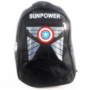 SunPower Lightweight Multipurpose Notebook Backpack – For Notebooks And Laptops Up To 15.6 Inch, Durable Melange Polyester Fabric, Padded Shoulder Straps And Back, Three Zippered Compartments, Padded Top Grip Handle, Dual Exterior Mesh Side Pockets Captain USA Theme Colour: Black , Poly Bag, 1 year Limited Warranty