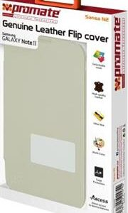 Promate Sansa-N2 Genuine Leather Flip cover for Samsung Galaxy Note II-White, , 1 Year Warranty