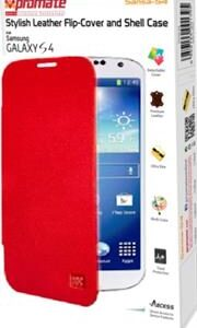 Promate Sansa-S4 Stylish Leather Flip-Cover and Shell Case for Samsung Galaxy S4-Redue Retail Box 1 Year Warranty