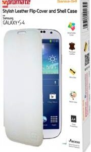 Promate Sansa-S4 Stylish Leather Flip-Cover and Shell Case for Samsung Galaxy S4-White Retail Box 1 Year Warranty