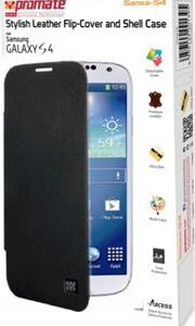 Promate Sansa-S4 Stylish Leather Flip-Cover and Shell Case for Samsung Galaxy S4-BlaRed Retail Box 1 Year Warranty