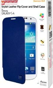Promate Sansa-S4 Stylish Leather Flip-Cover and Shell Case for Samsung Galaxy S4-Blue Retail Box 1 Year Warranty
