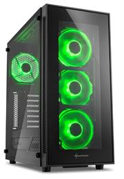 Sharkoon TG5 Window ATX Tower PC Gaming Case Green with Side Window – USB 3.0, Mounting possibilities: 1x 3.5″ hard drive bays, 2x 3.5″ or 2.5″ hard drive bay, 2x 2.5″ hard drive bays, Front I/O: 2x USB 3.0 (internal 19-pin mainboard connector incl. USB 2.0 plug), 2x USB 2.0, Front Audio – NO PSU, Retail Box , 1 Year warranty