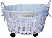Totally White Weaved Toy Basket with Wheels, Super sized, extra large, white lacquered, handcrafted, oval wicker baskets on wheels that are very sturdy, Retail Box, Out of Box failure Warranty